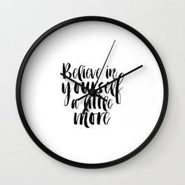 Inspirational Poster,Motivational Quote,Typography Print Believe Sign,Printable Poster,She believed Wall Clock