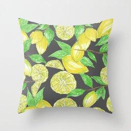 Watercolor Lemon Twig Allover Print Design Throw Pillow