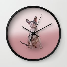 Drawing Sphynx kitten, hairless Wall Clock