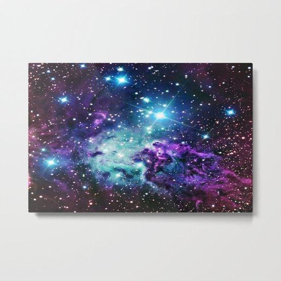 Fox Fur Nebula : Purple Teal Galaxy Metal Print