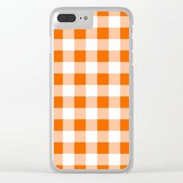 Orange Check Clear iPhone Case
