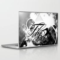 decal Laptop & iPad Skins featuring fly away bw by haroulita