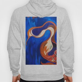 Abstract Blue and Orange Bird Hoody