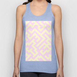 Cream Yellow and Pink Lace Diagonal Labyrinth Unisex Tank Top