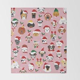 Christmas Dog Pattern Illustration Throw Blanket