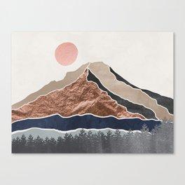 Mount Hood // Daylight Art Print Oregon Stratovolcano Rose Gold Silver Blue Cream Black Mountain Canvas Print
