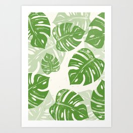 Linocut Monstera Leaf Pattern Art Print