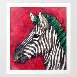 Punk Zebra Art Print