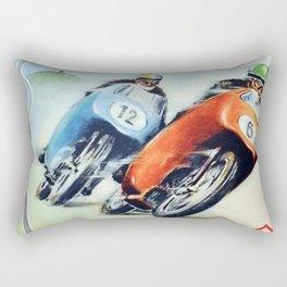 Nurburgring German Motorcycle Road Race Vintage Poster, Circa 1955 Rectangular Pillow