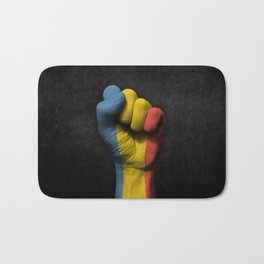 Romanian Flag on a Raised Clenched Fist Bath Mat