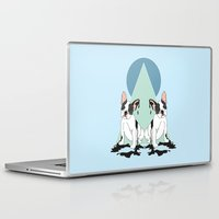 pugs Laptop & iPad Skins featuring Pugs (Blue) by Anna McKay