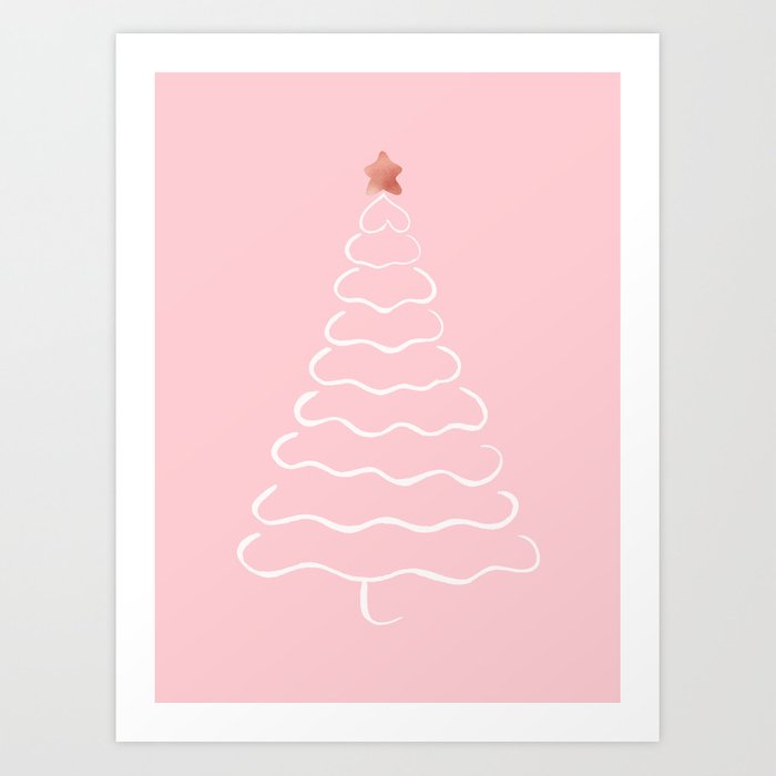 Minimalist Christmas.Minimalist Christmas Tree Pink And White Art Print By Cynh
