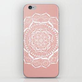 White Flower Mandala on Rose Gold iPhone Skin