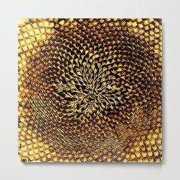 Gold Chrome Sunflower Portrait by Jeanpaul Ferro Metal Print