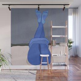 Hugs. Abstract painting, minimalist blue art, legs Wall Mural