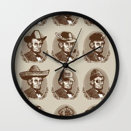 Abe Tries on Hats Wall Clock