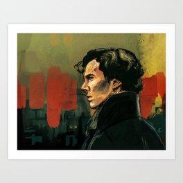 BBC Sherlock Holmes - Benedict Cumberbatch - Painting Print Poster Art Print