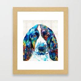 Colorful English Springer Spaniel Dog by Sharon Cummings Framed Art Print