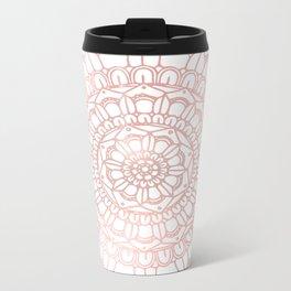 Rose Gold Boho Mandala Metal Travel Mug
