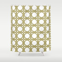 Gold & White Knotted Design Shower Curtain