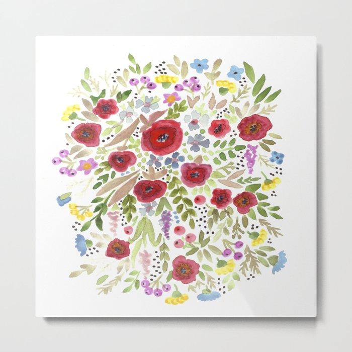Hand drawn watercolor flowers, cute floral print Metal Print
