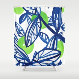 Blue and lime green abstract apple tree Shower Curtain