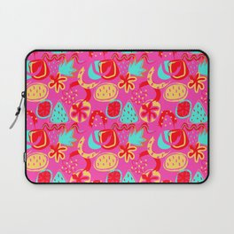 Brushstrokes Abstract - brights on hot pink Laptop Sleeve