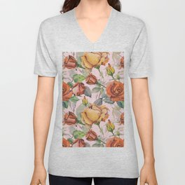 Blush pink orange brown watercolor roses floral Unisex V-Neck