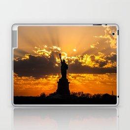 Statue of Liberty sunset in New York Harbor Laptop & iPad Skin