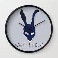 donnie darko Wall Clocks featuring Donnie Darko by The Silence