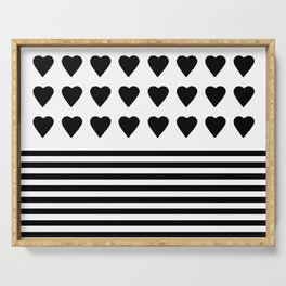 Heart Stripes Black on White Serving Tray