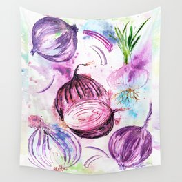 Purple Red Onions and Bulbs Wall Tapestry