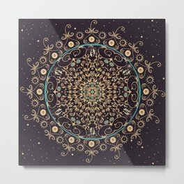 Deep Purple Sky Mandala Metal Print