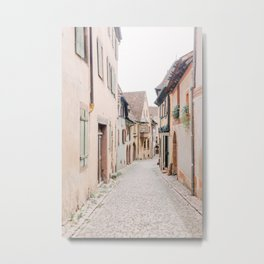 Historic French street with pastel houses   travel photography in France Europe   art photo print  Metal Print