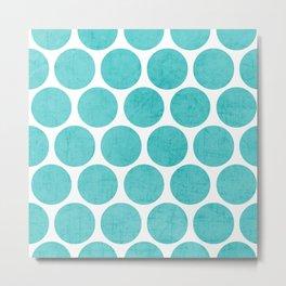 aqua polka dots Metal Print
