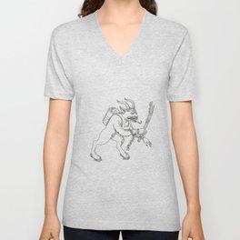 Krampus With Stick Doodle Art Unisex V-Neck