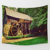 virginia Wall Tapestries featuring  Gristmill - Charlottesville, Virginia by Judy Palkimas