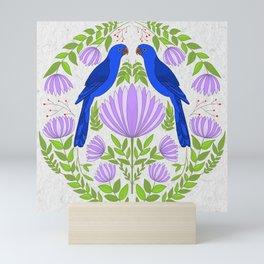 Blue macaw folk art, Mini Art Print