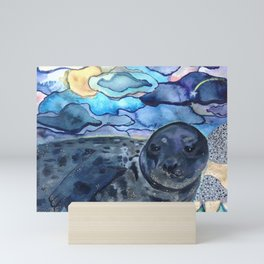 Cliffnote the Baby Harbor Seal Mini Art Print
