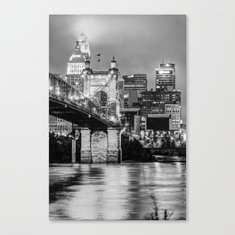 Cincinnati Skyline and John Roebling Bridge - Vertical Monochrome Canvas Print