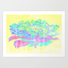 Distressed Hydrangea {yellow} Art Print