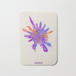 Dubai, United Arab Emirates Colorful Skyround / Skyline Watercolor Painting Bath Mat