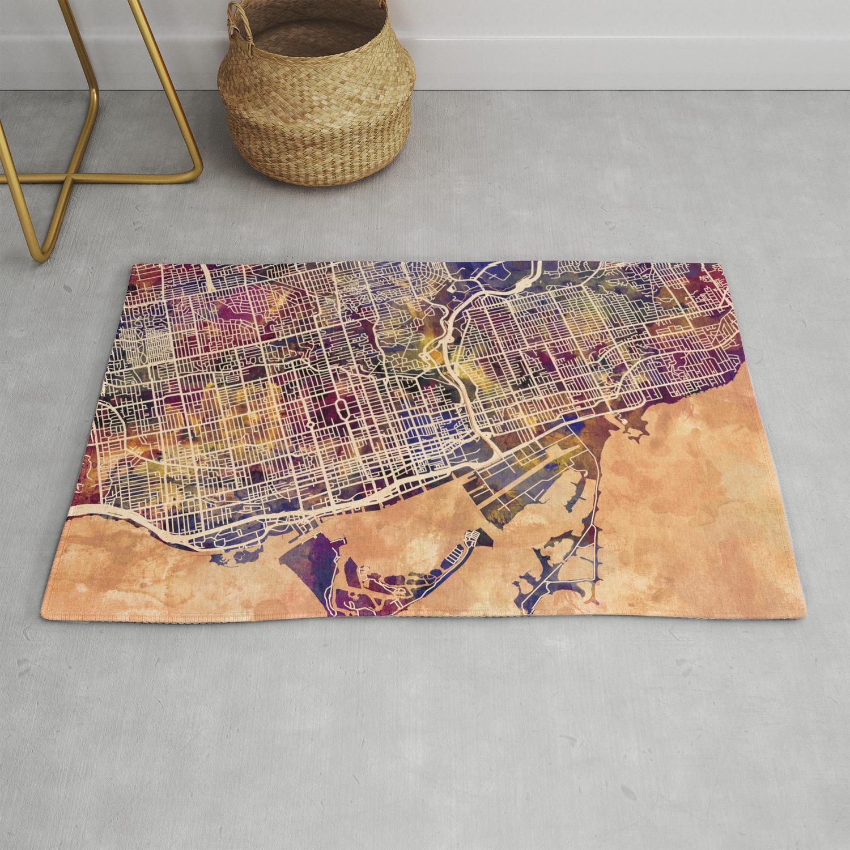 Toronto Canada Street Map Rug By