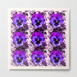 GARDEN ROWS OF PURPLE PANSY FLOWERS PATTERNS Metal Print