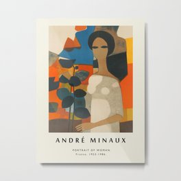 Poster-Andre Minaux-Portrait of a woman. Metal Print