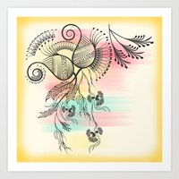 decorative Art Prints featuring Decorative Floral by famenxt