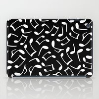 music notes iPad Cases featuring Music Notes Black and White by Cute to Boot