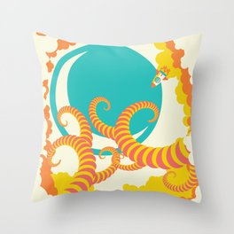 Retro design of flying space rocket Throw Pillow