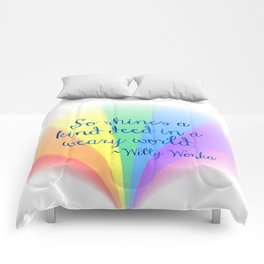 Inspirational Art Willy Wonka Quote and a Rainbow Feather Comforters