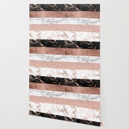 Modern chic color block rose gold marble stripes pattern Wallpaper